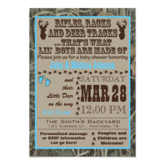 Little Boys Hunting Camo Baby Shower Invitations B