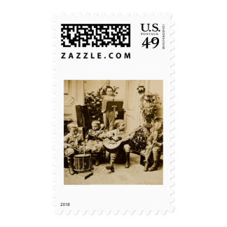 Little Boys Orchestra - Vintage Stereoview Stamp