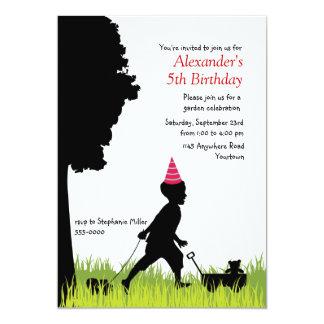 "Little Boy's Silhouette Birthday 5"" X 7"" Invitation Card"