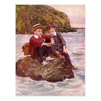 Little Boys sitting on a Rock  Vintage Image Postcard