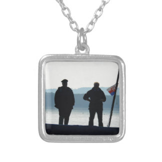 Little break for the ferrymen square pendant necklace