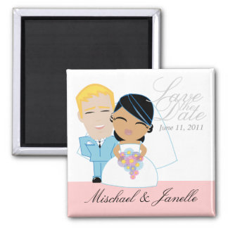 little BRIDE & GROOM save the date keepsake 2 Inch Square Magnet
