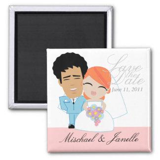 little BRIDE & GROOM save the date keepsake Magnets