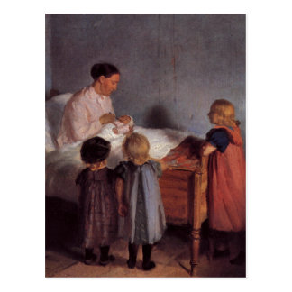 Little brother beautiful art painting mother child postcard
