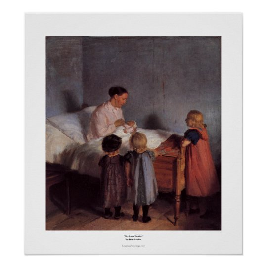 Little brother beautiful art painting mother child poster