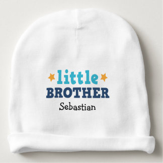 Little brother, blue text with stars custom name baby beanie