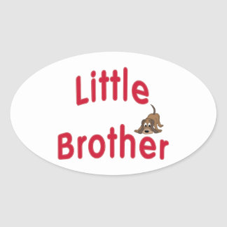 Little Brother Cute Hound Oval Sticker