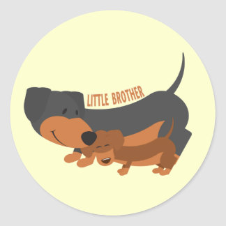 Little Brother (dogs) Classic Round Sticker