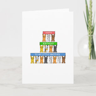 Little Brother Happy Birthday Cute Cats Card