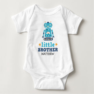 Little brother one-piece with retro robot and name baby bodysuit