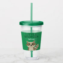 Little Brother or Big Brother Raccoon Personalized Acrylic Tumbler