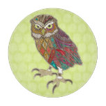 little brother owl chartreuse dot cutting board
