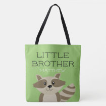Little Brother Raccoon Animal Boys Sibling Green Tote Bag