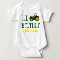 Little Brother Tractor Personalized Baby Bodysuit