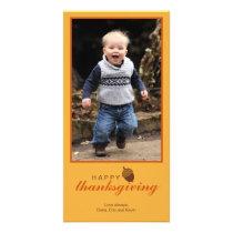 Little brown acorn Thanksgiving photo greeting Card