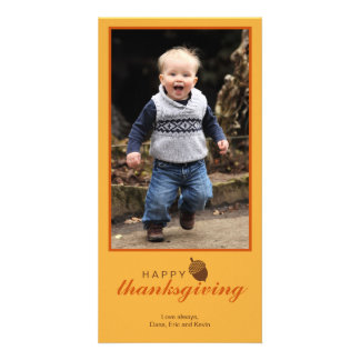 Little brown acorn Thanksgiving photo greeting Card