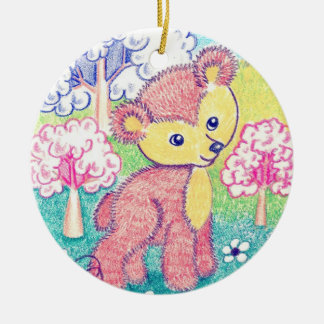 Little Brown Bear Cub Ceramic Ornament