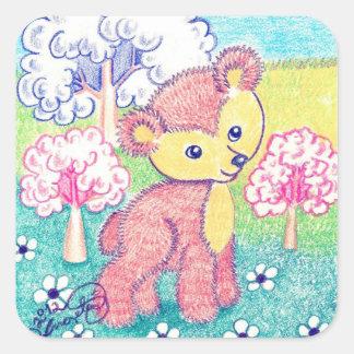 Little Brown Bear Cub Square Sticker