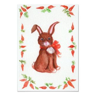 "Little Brown Bunny Rabbit with Carrots Invitation 3.5"" X 5"" Invitation Card"
