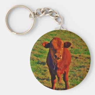 Little Brown Cow Bright Green Grass Basic Round Button Keychain