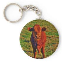 Little Brown Cow Bright Green Grass Keychain