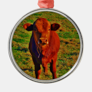 Little Brown Cow Bright Green Grass Metal Ornament