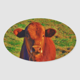 Little Brown Cow Bright Green Grass Stickers