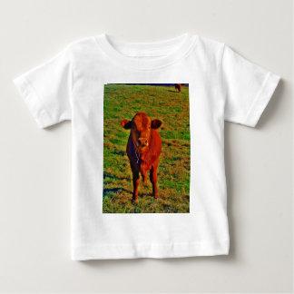 Little Brown Cow Bright Green Grass T-shirt