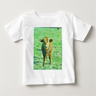 Little Brown Cow in Pastel Green Grass Infant T-shirt