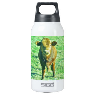 Little Brown Cow in Pastel Green Grass Insulated Water Bottle