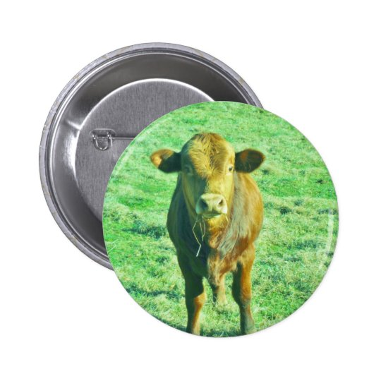 Little Brown Cow in Pastel Green Grass Pinback Button