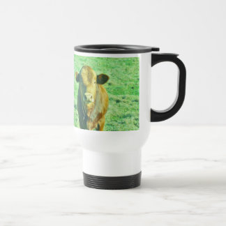 Little Brown Cow in Pastel Green Grass Travel Mug