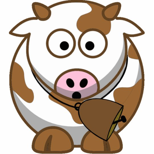 Little Brown Cow with Cowbell Cutout