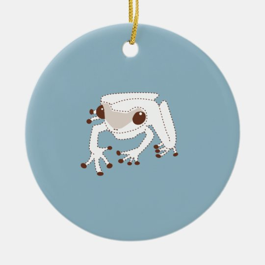 Little Brown Frog on BLUE Ceramic Ornament