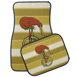 Little Brown Kiwi On A Red Unicycle Car Mat