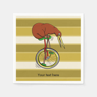 Little Brown Kiwi On A Red Unicycle Paper Napkin