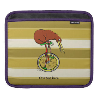 Little Brown Kiwi On A Red Unicycle Sleeve For iPads