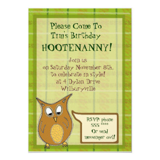 Little Brown Owl Hootenanny Invitation