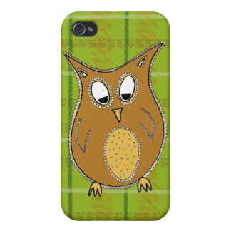 Little Brown Owl on Green Tartan Phone Cover Cases For iPhone 4