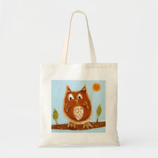 Little brown owl painting grocery bag