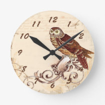 Little Brown Owl Round Clock
