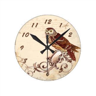 Little Brown Owl Round Clock
