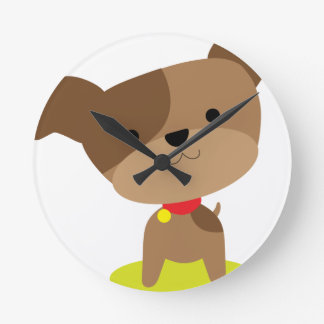 little brown pup round clock