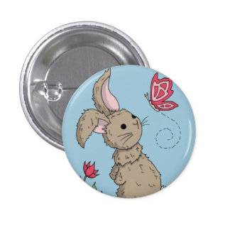 Little Brown Spring Bunny Button