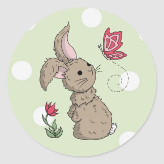 Little Brown Spring Bunny Classic Round Sticker