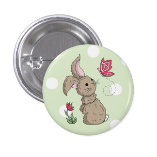 Little Brown Spring Bunny Pinback Button