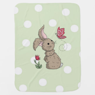 Little Brown Spring Bunny Receiving Blankets