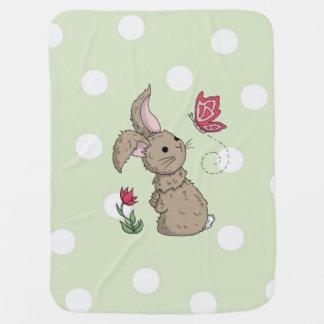 Little Brown Spring Bunny Swaddle Blanket