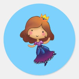 Little Brunette Princess Classic Round Sticker