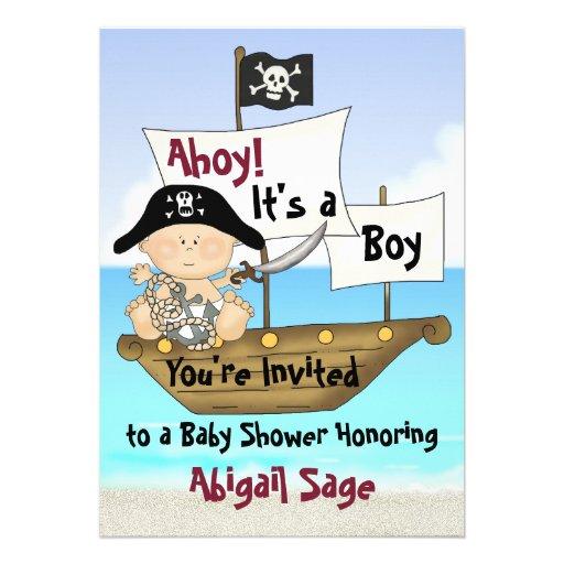 little buccaneer baby shower pirate invitation 5 x 7 invitation c